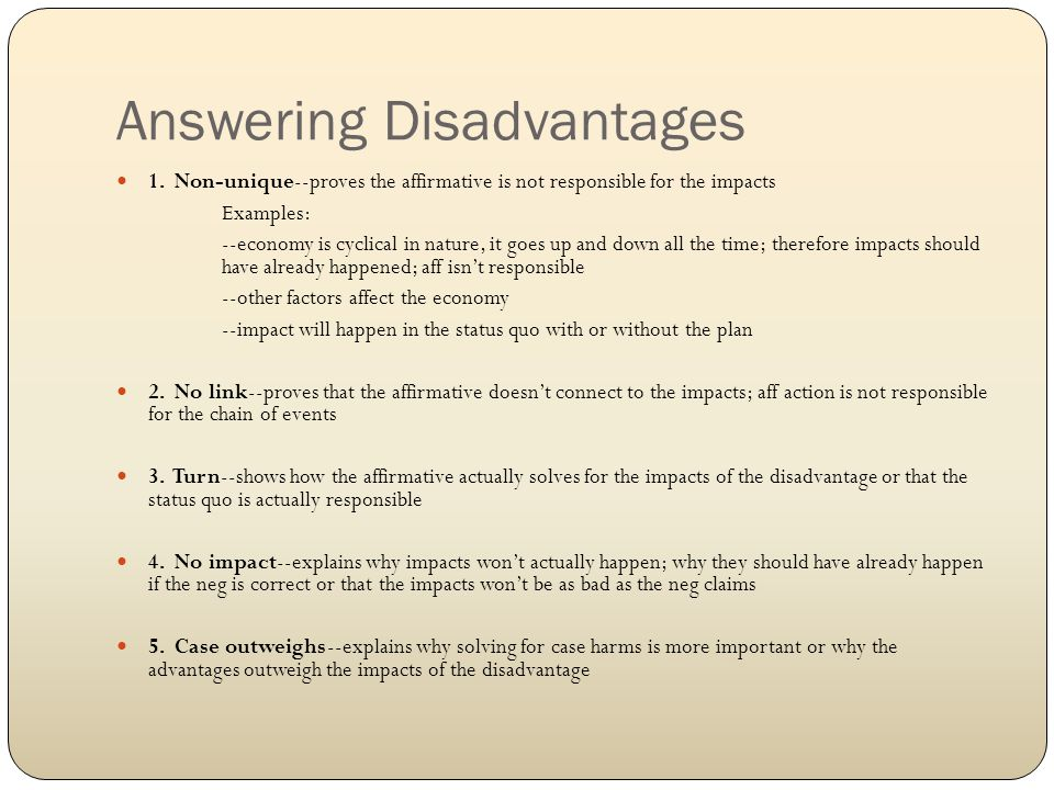 Answering Disadvantages 1.