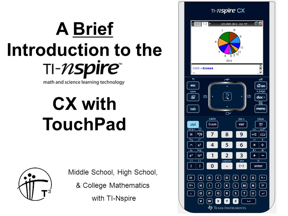 A Brief Introduction to the CX with TouchPad Middle School, High School, & College Mathematics with TI-Nspire