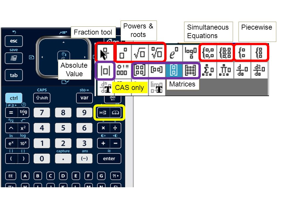 Math Operators Screen contrast Space comma Powers & roots Logs Enter / Approx Grouping