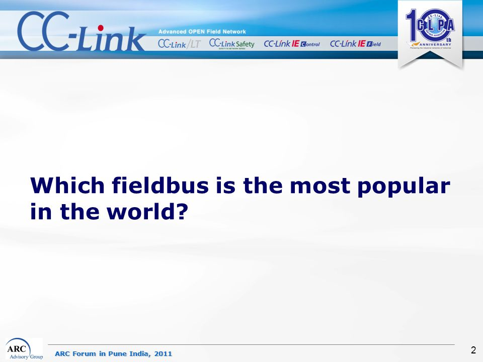 ARC Forum in Pune India, 2011 2 Which fieldbus is the most popular in the world?