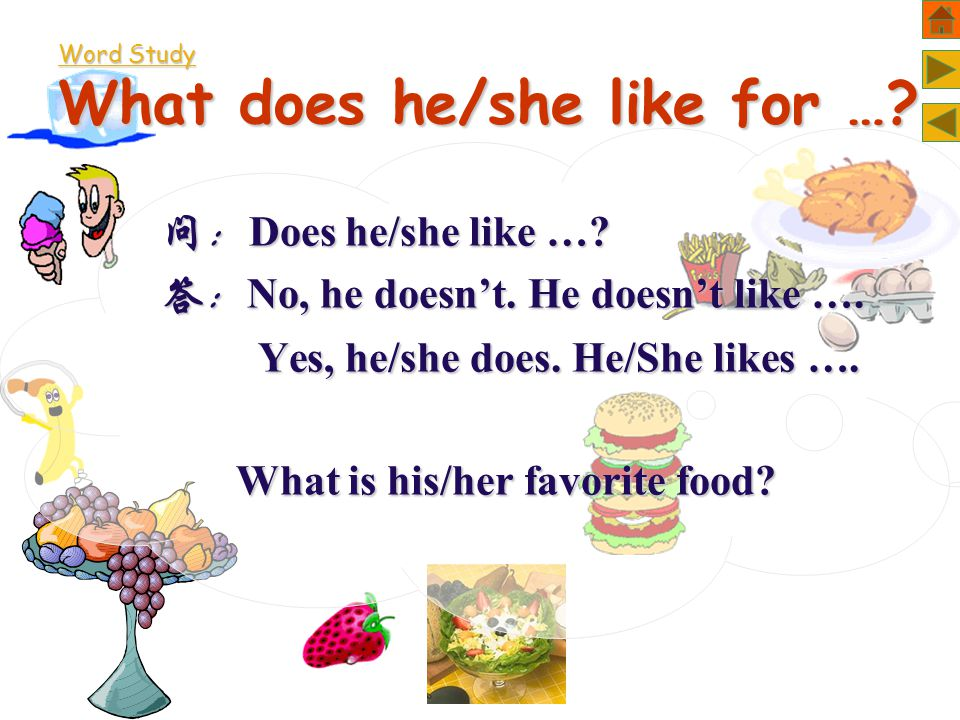 Word Study What does he/she like for …. 问: Does he/she like ….