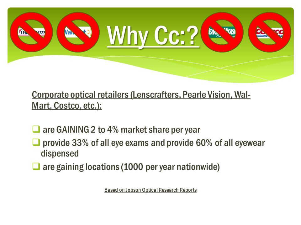 Corporate optical retailers (Lenscrafters, Pearle Vision, Wal- Mart, Costco, etc.):  are GAINING 2 to 4% market share per year  provide 33% of all eye exams and provide 60% of all eyewear dispensed  are gaining locations (1000 per year nationwide) Based on Jobson Optical Research Reports Why Cc:?