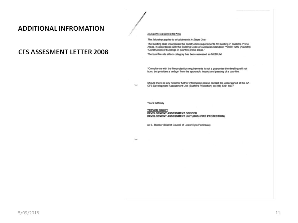 ADDITIONAL INFROMATION CFS ASSESMENT LETTER 2008 5/09/201311