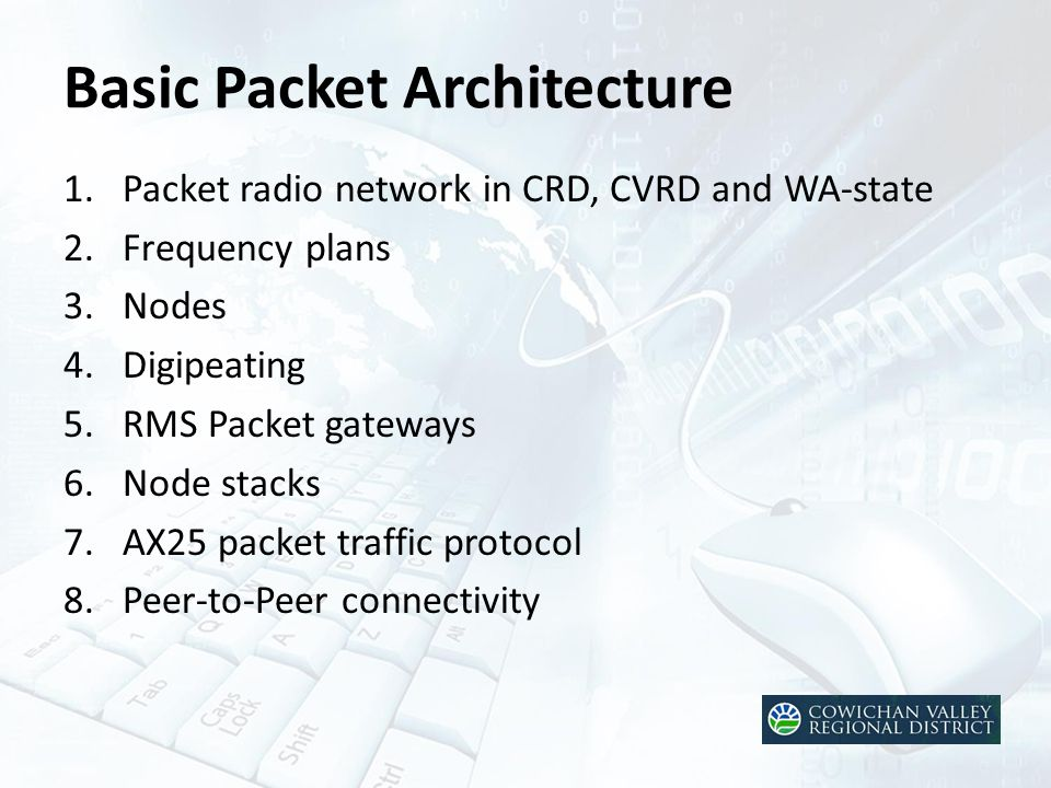 Basic Packet Architecture 1.Packet radio network in CRD, CVRD and WA-state 2.Frequency plans 3.Nodes 4.Digipeating 5.RMS Packet gateways 6.Node stacks 7.AX25 packet traffic protocol 8.Peer-to-Peer connectivity