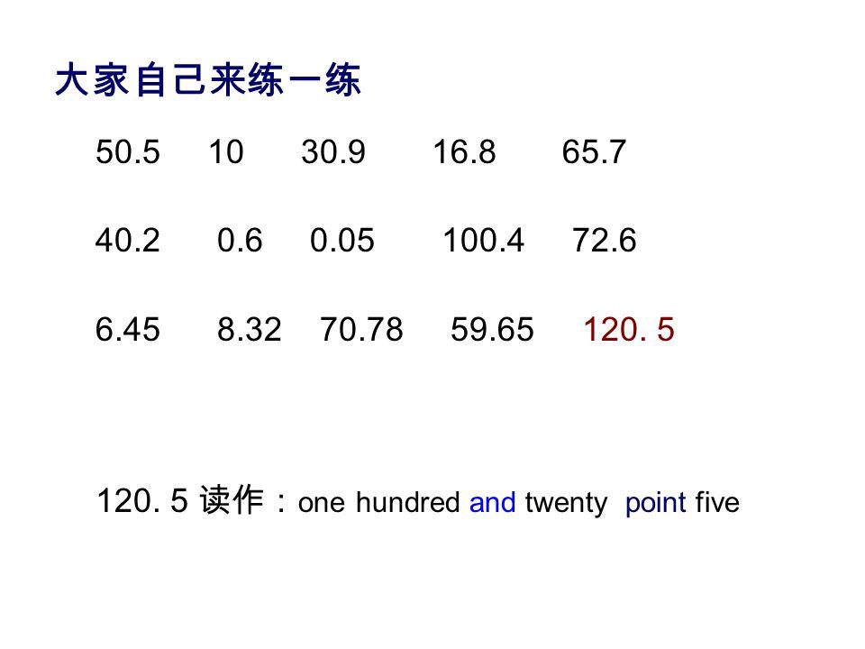 小数点 point 10.5 读作: 20.3 读作: 100.8 读作: ten point five twenty point three one hundred point eight