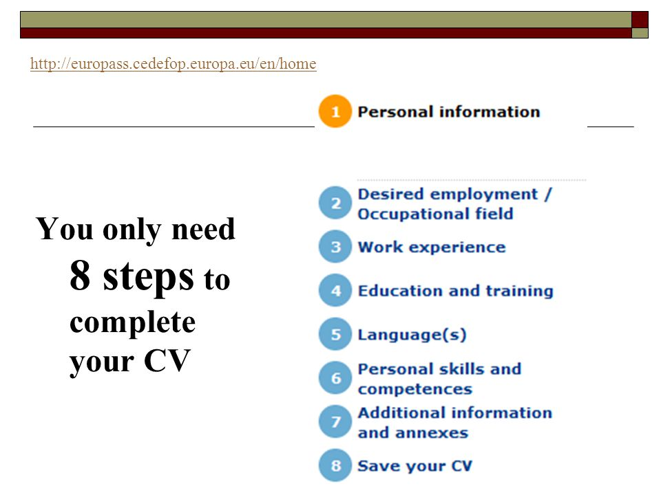 You only need 8 steps to complete your CV http://europass.cedefop.europa.eu/en/home