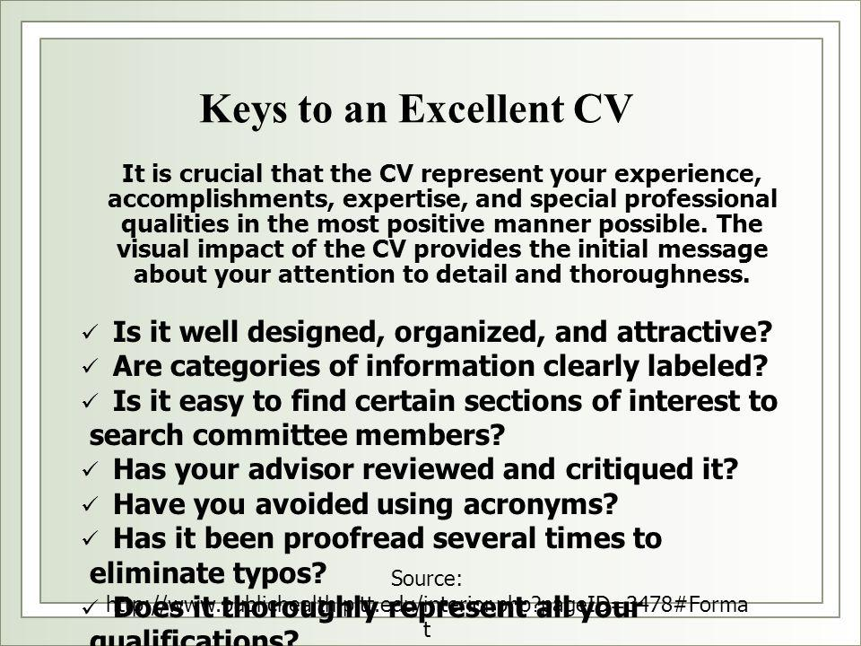It is crucial that the CV represent your experience, accomplishments, expertise, and special professional qualities in the most positive manner possib