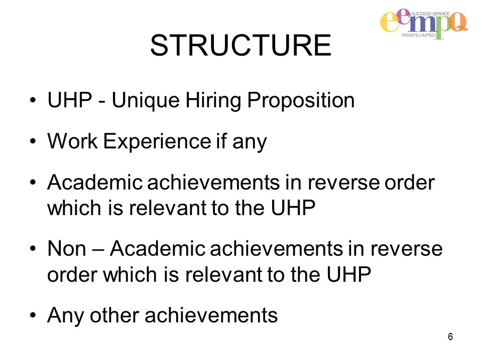 STRUCTURE UHP - Unique Hiring Proposition Work Experience if any Academic achievements in reverse order which is relevant to the UHP Non – Academic achievements in reverse order which is relevant to the UHP Any other achievements 6