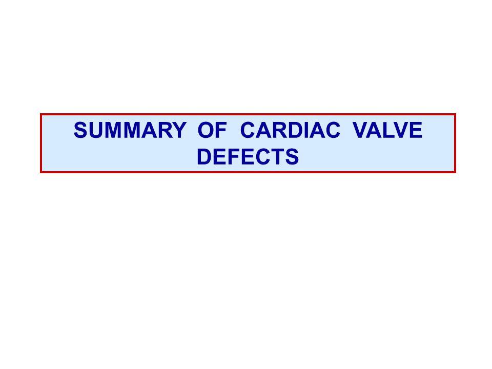 SUMMARY OF CARDIAC VALVE DEFECTS