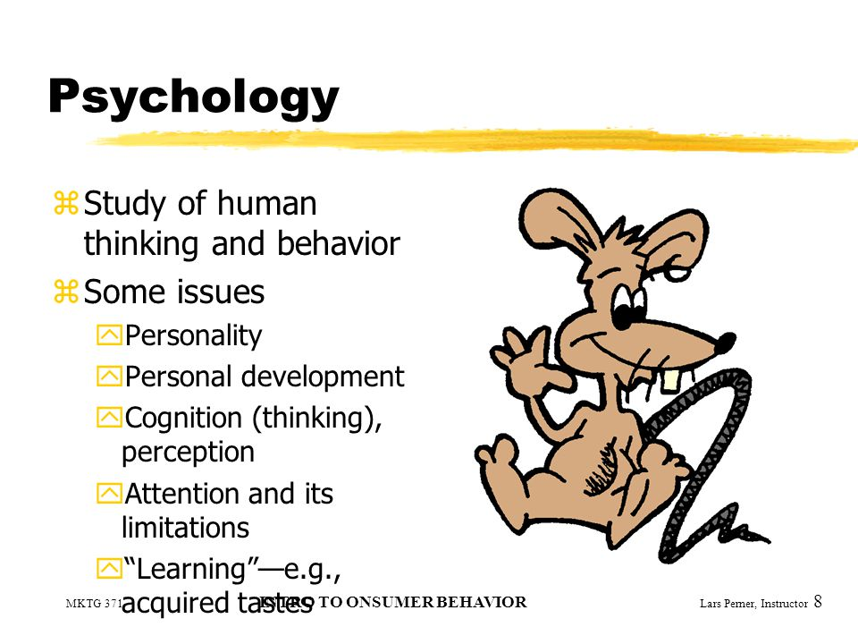 MKTG 371 INTRO TO ONSUMER BEHAVIOR Lars Perner, Instructor 8 Psychology zStudy of human thinking and behavior zSome issues yPersonality yPersonal development yCognition (thinking), perception yAttention and its limitations y Learning —e.g., acquired tastes