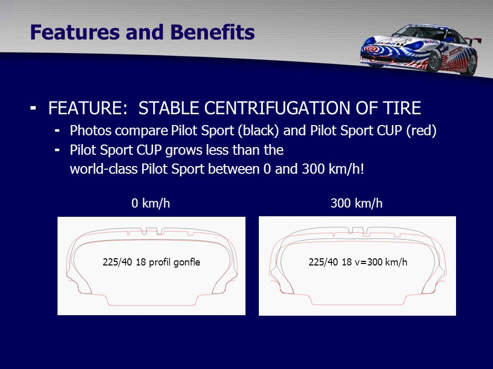  FEATURE: STABLE CENTRIFUGATION OF TIRE  Photos compare Pilot Sport (black) and Pilot Sport CUP (red)  Pilot Sport CUP grows less than the world-class Pilot Sport between 0 and 300 km/h.