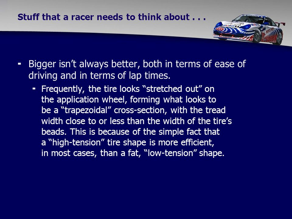 Stuff that a racer needs to think about...