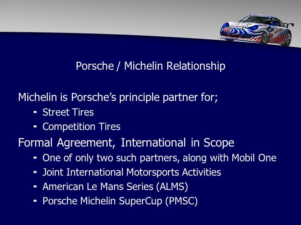 Porsche / Michelin Relationship Michelin is Porsche's principle partner for;  Street Tires  Competition Tires Formal Agreement, International in Sco