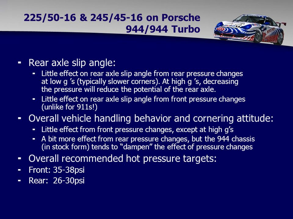 225/50-16 & 245/45-16 on Porsche 944/944 Turbo  Rear axle slip angle:  Little effect on rear axle slip angle from rear pressure changes at low g 's