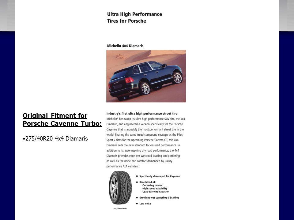 Original Fitment for Porsche Cayenne Turbo: 275/40R20 4x4 Diamaris