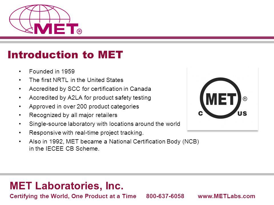 MET's CB Scheme Laboratories MET Laboratories, Inc.