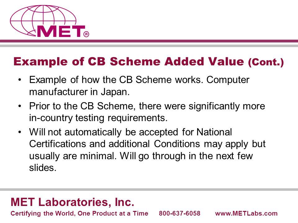 CB Report and Certificate MET Laboratories, Inc.
