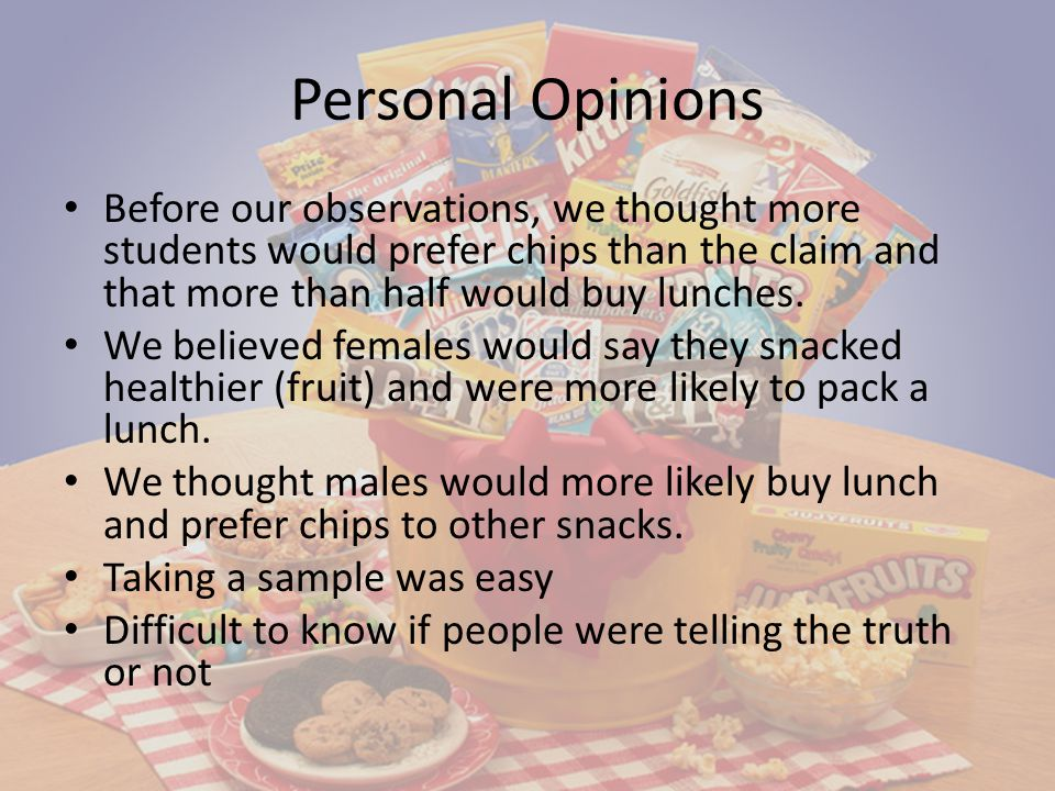 Personal Opinions Before our observations, we thought more students would prefer chips than the claim and that more than half would buy lunches.