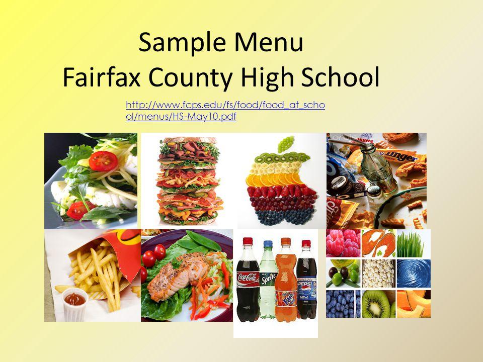 Sample Menu Fairfax County High School http://www.fcps.edu/fs/food/food_at_scho ol/menus/HS-May10.pdf