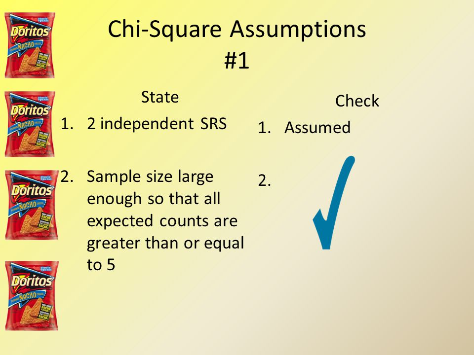 Chi-Square Assumptions #1 State 1.2 independent SRS 2.Sample size large enough so that all expected counts are greater than or equal to 5 Check 1.Assumed 2.