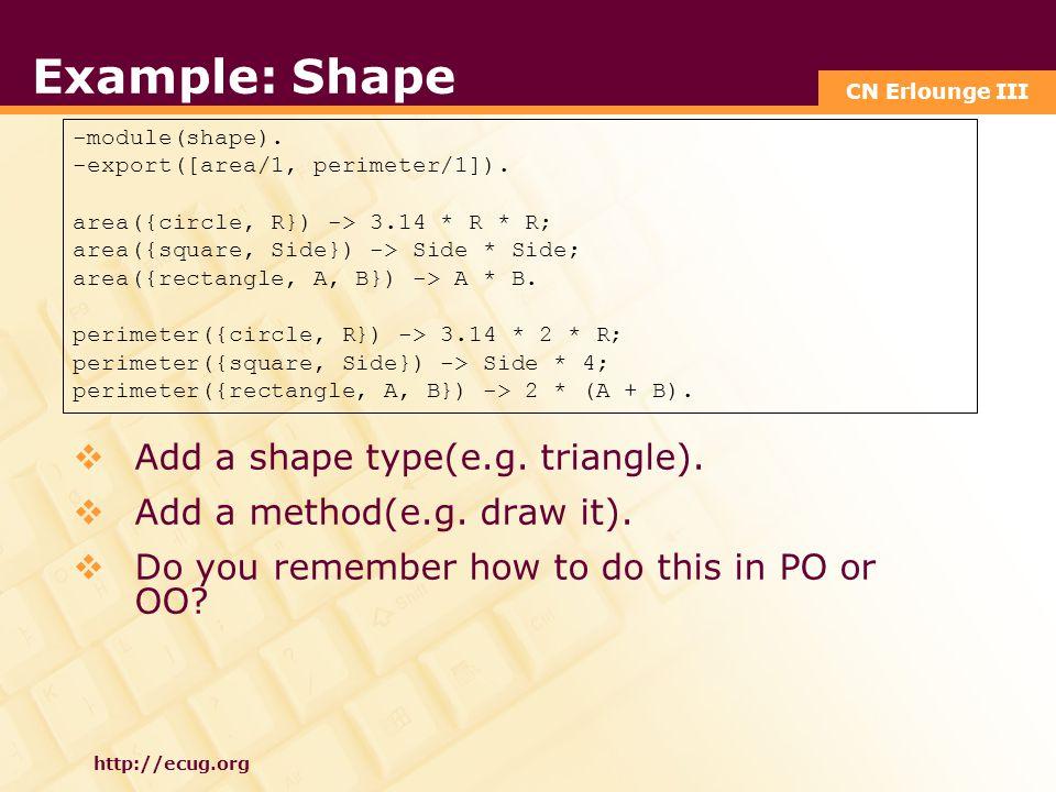 CN Erlounge III http://ecug.org Example: Shape -module(shape).