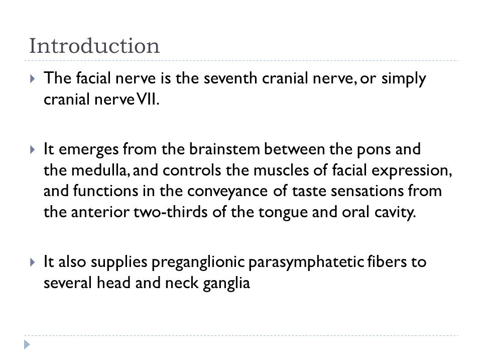 Introduction  The facial nerve is the seventh cranial nerve, or simply cranial nerve VII.  It emerges from the brainstem between the pons and the me