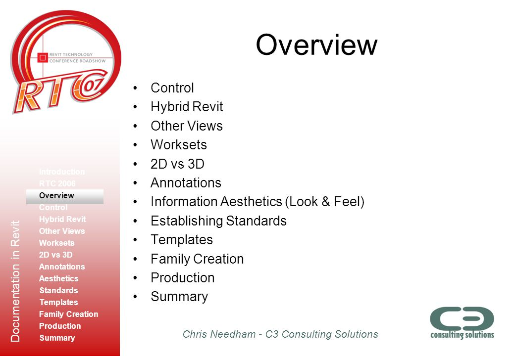 Chris Needham - C3 Consulting Solutions Documentation in Revit Overview Control Hybrid Revit Other Views Worksets 2D vs 3D Annotations Information Aes