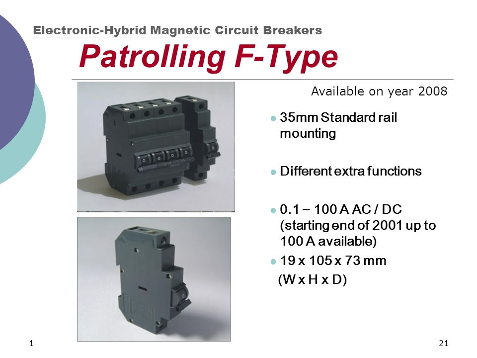121 Patrolling F-Type 35mm Standard rail mounting Different extra functions 0.1 ~ 100 A AC / DC (starting end of 2001 up to 100 A available) 19 x 105