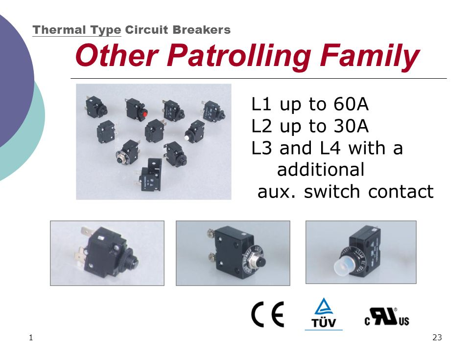 123 Other Patrolling Family Thermal Type Circuit Breakers L1 up to 60A L2 up to 30A L3 and L4 with a additional aux. switch contact