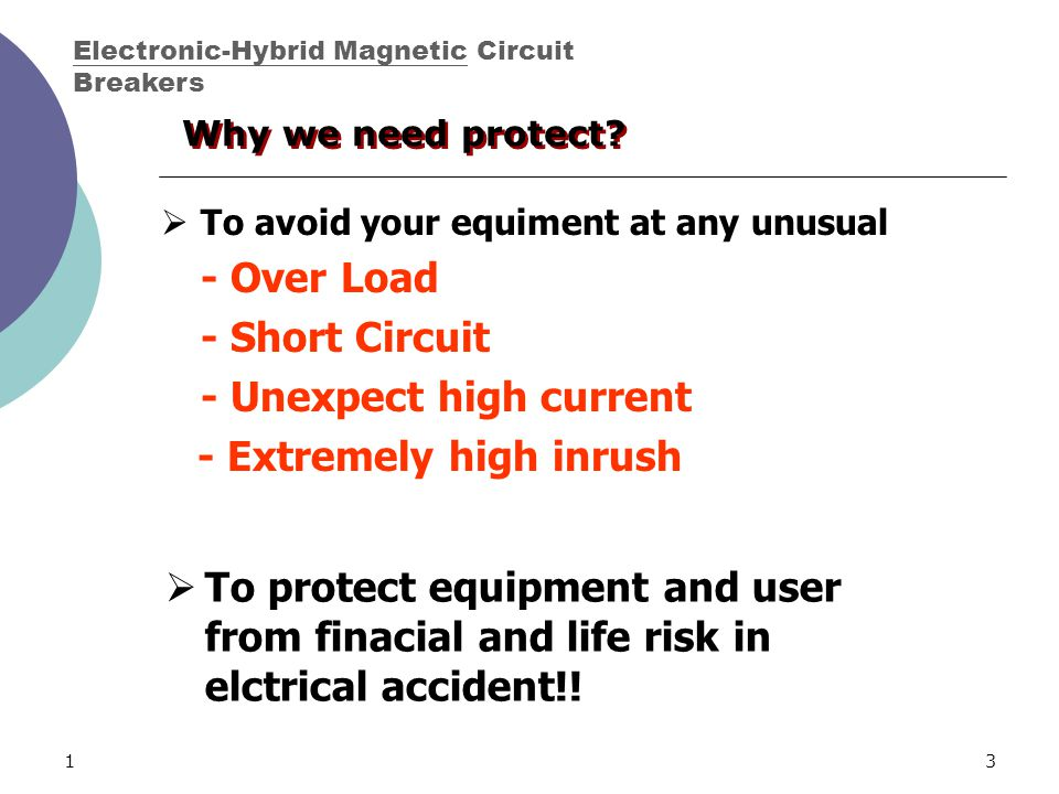 13  To avoid your equiment at any unusual - Over Load - Short Circuit - Unexpect high current - Extremely high inrush  To protect equipment and user