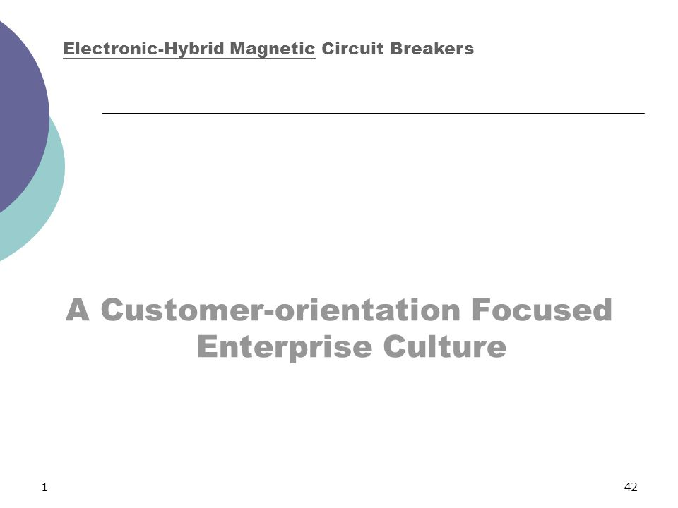 142 A Customer-orientation Focused Enterprise Culture Electronic-Hybrid Magnetic Circuit Breakers