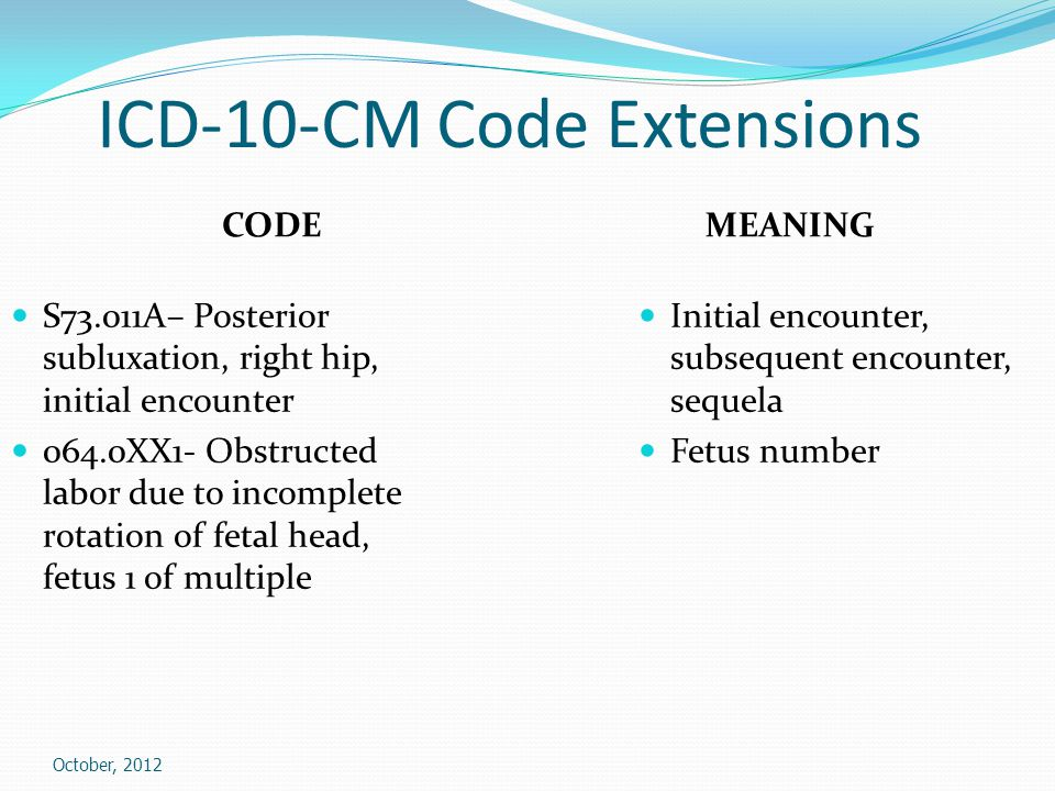 ICD-10-CM Code Extensions CODE S73.011A– Posterior subluxation, right hip, initial encounter 064.0XX1- Obstructed labor due to incomplete rotation of fetal head, fetus 1 of multiple MEANING Initial encounter, subsequent encounter, sequela Fetus number