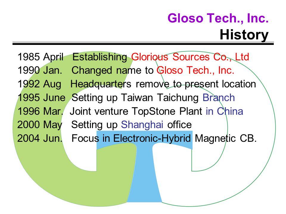 Gloso Tech., Inc.History 1985 April Establishing Glorious Sources Co., Ltd 1990 Jan.
