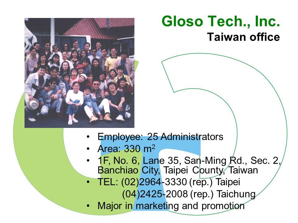 Gloso Tech., Inc.Taiwan office Employee: 25 Administrators Area: 330 m 2 1F, No.