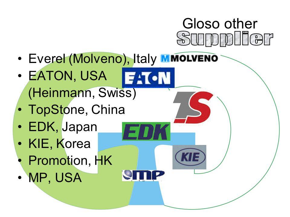 Gloso other Everel (Molveno), Italy EATON, USA (Heinmann, Swiss) TopStone, China EDK, Japan KIE, Korea Promotion, HK MP, USA