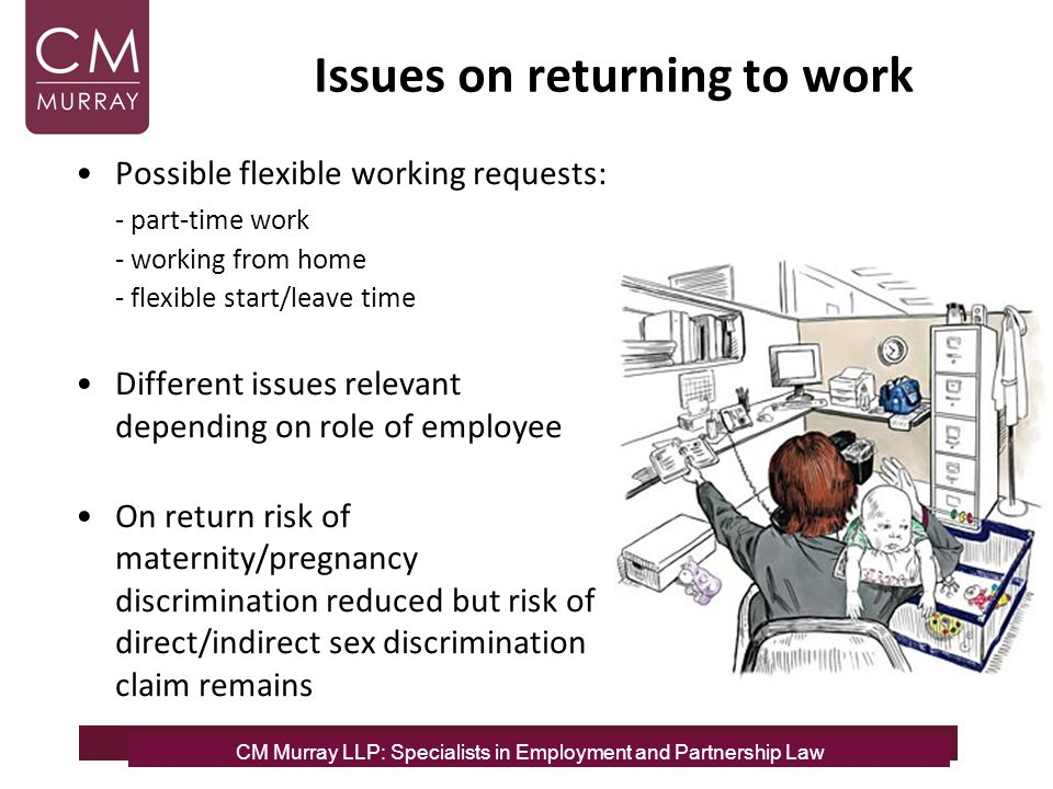 CM Murray LLP: Specialists in Employment and Partnership Law Issues on returning to work Possible flexible working requests: - part-time work - workin
