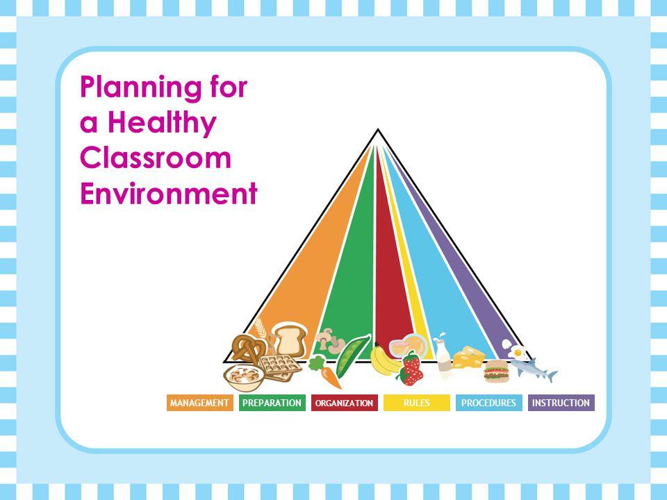 Planning for a Healthy Classroom Environment MANAGEMENTPREPARATION ORGANIZATION RULESPROCEDURESINSTRUCTION