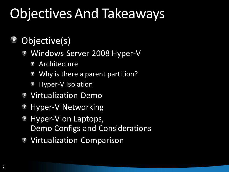 13 Micro-kernelized Hypervisor Defense in depth Using hardware to protect Hyper-V doesn't use ring compression, uses hardware assists Further reduces the attack surface Scheduler Memory Management Hardware VM State Machine Virtualized Devices Management API Ring -1 Storage Stack Network Stack Drivers User Mode Kernel Mode User Mode Kernel Mode Ring 0 Ring 3 Parent Partition Virtual Machine Virtual Machine