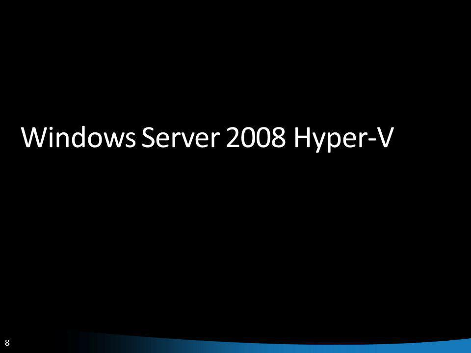 9 Windows Hyper-V Requirements Description Hypervisor based virtualization platform Windows Server 2008 x64 Edition technology Standard, Enterprise and Datacenter Editions Hardware Requirements x64 server with hardware assisted virtualization AMD AMD-V or Intel VT Hardware enabled Data Execution Prevention (DEP) required AMD (NX no execute bit) Intel (XD execute disable) Note: Enabling these BIOS features requires powering down (not rebooting) the server to take effect