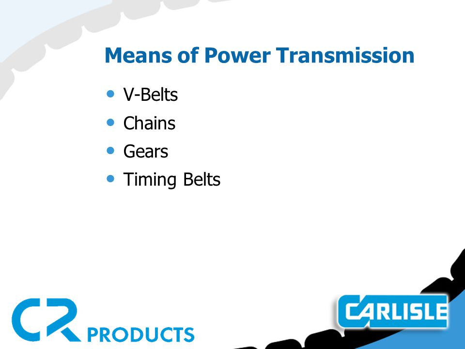 Means of Power Transmission V-Belts Chains Gears Timing Belts