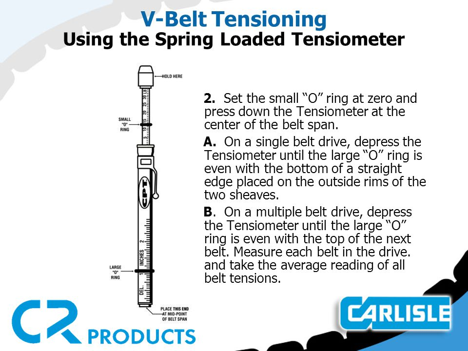 "V-Belt Tensioning Using the Spring Loaded Tensiometer 2. Set the small ""O"" ring at zero and press down the Tensiometer at the center of the belt span."