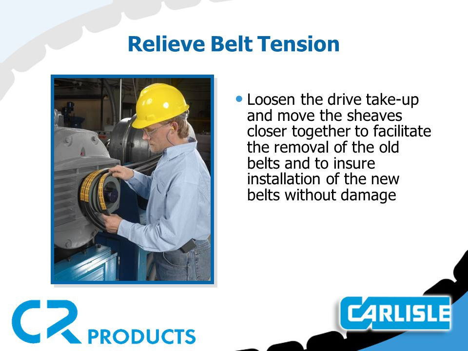 V-Belt Tensioning Excessive tension can be even more detrimental than too little tension not only on the belts but also the bearings and shafts.