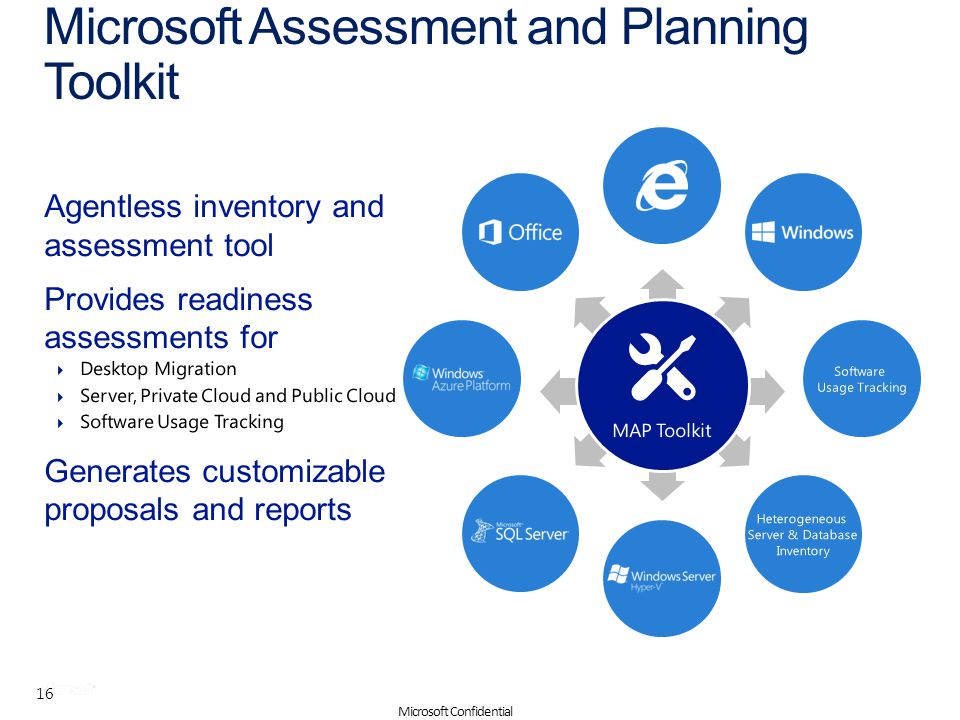 | Solution Accelerators Microsoft Assessment and Planning Toolkit 16 Microsoft Confidential