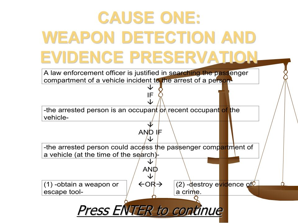 CAUSE ONE: WEAPON DETECTION AND EVIDENCE PRESERVATION Press ENTER to continue