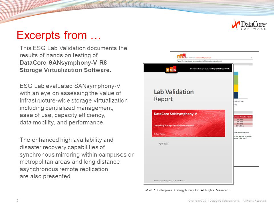 Copyright © 2011 DataCore Software Corp. – All Rights Reserved. www.datacore.com