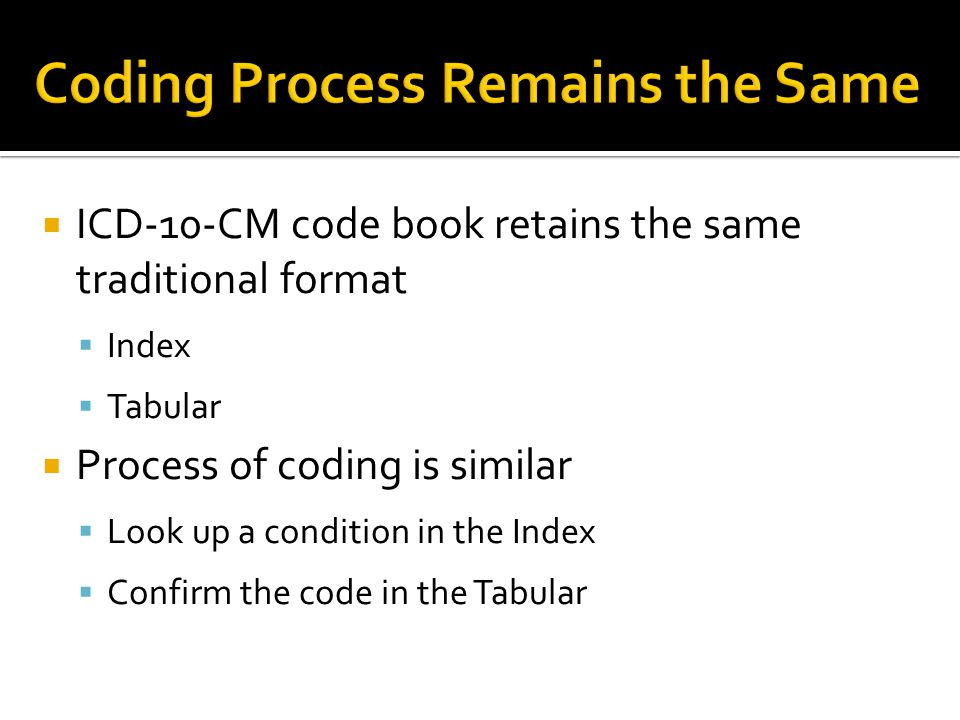  ICD-10-CM code book retains the same traditional format  Index  Tabular  Process of coding is similar  Look up a condition in the Index  Confirm the code in the Tabular