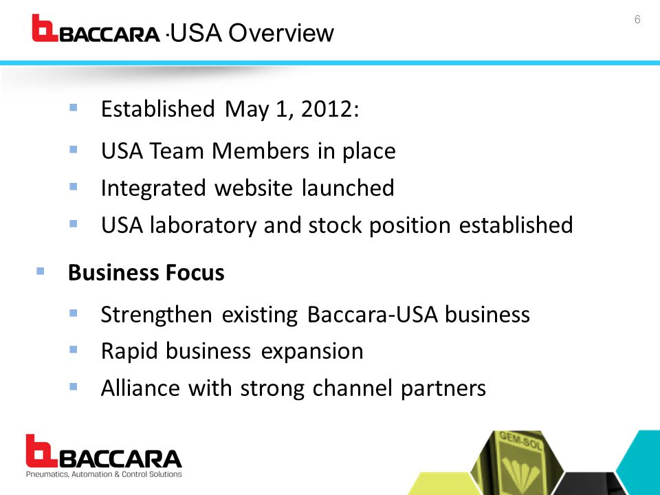 Baccara-USA Overview 6  Established May 1, 2012:  USA Team Members in place  Integrated website launched  USA laboratory and stock position established  Business Focus  Strengthen existing Baccara-USA business  Rapid business expansion  Alliance with strong channel partners