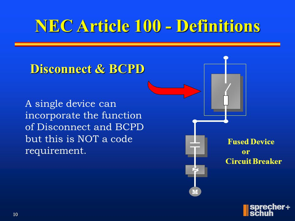 9 BCPD Fused Device or Circuit Breaker M Branch-Circuit short-circuit & ground-fault Protection Device