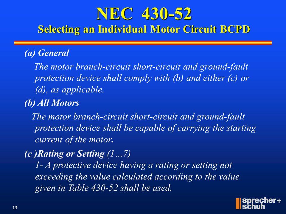 12 NEC 430-52 Selecting an Individual Motor Circuit BCPD