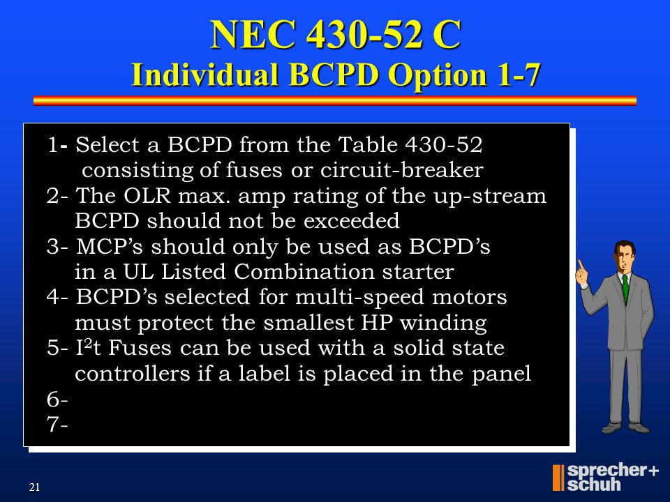 20 NEC 430-52 C NEC 430-52 C contains seven options. Option #1 was to select the BCPD from the Table 430-52. Options 2-5 covers applications that do n